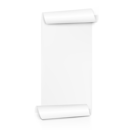Clear White Paper Scroll. Sheet Roll On Both Sides. EPS10 Vector