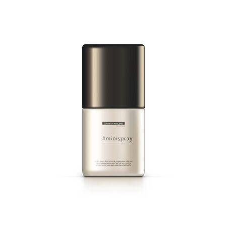 3D Deodorant Bottle On White Background. Shiny Packaging