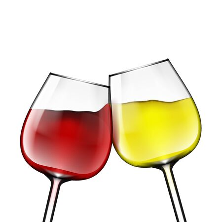 Big Reds Wine Glass Of Red And White Wine