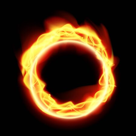 Realistic Abstract Fire Ring On Black Background