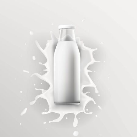 Realistic Transparent Clear Milk Bottle Advertising Template
