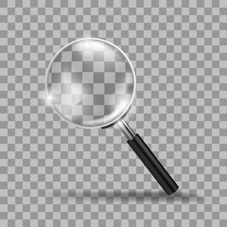 Realistic Transparent Modern Magnifying Glass Isolated On Background