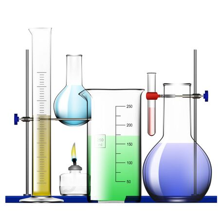 Realistic Chemical Laboratory Equipment Set. Glass Flasks, Beakers, Spirit Lamps Stock Illustratie