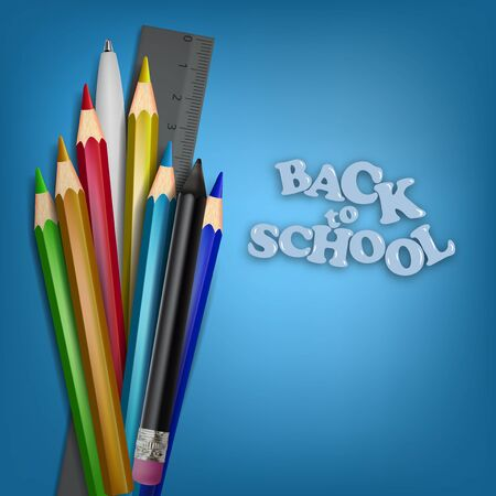 Back To School Template. School Supplies. Pencils, Pen and Ruler Çizim