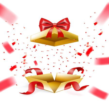 Realistic Gold Surprise Gift Box With Falling Confetti. EPS10 Vector