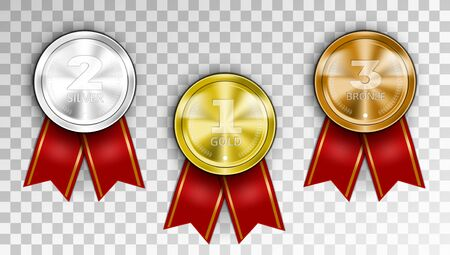 Realistic Award Medals. Three Winner Champion Medals - Gold Silver And Bronze. Иллюстрация