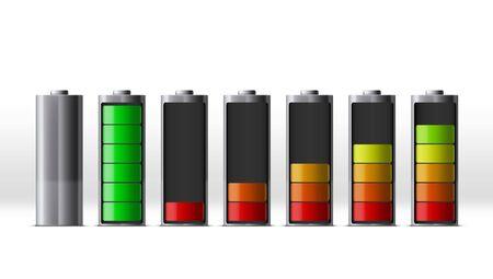 Discharged And Fully Charged Smartphone Battery Set. Vektoros illusztráció