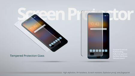 Protecteur d'écran Modèle AD en verre transparent trempé.