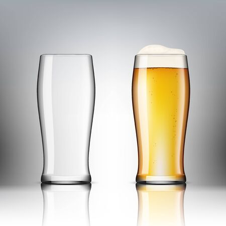 Realistic Transparent Beer Glasses. Empty And Full One. Иллюстрация