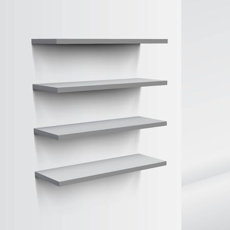 3D Empty White Shop Shelf On Wall.