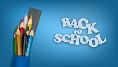 Back To School Template. School Supplies. Pencils, Pen and Ruler. Çizim