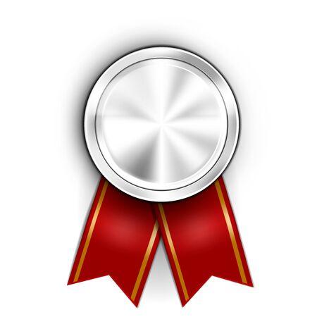 Realistic Award Medal. Winner Champion Silver Medal.
