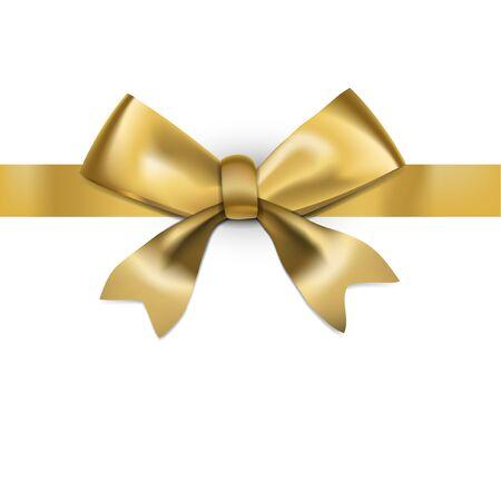 Noeud doré décoratif avec long ruban brillant