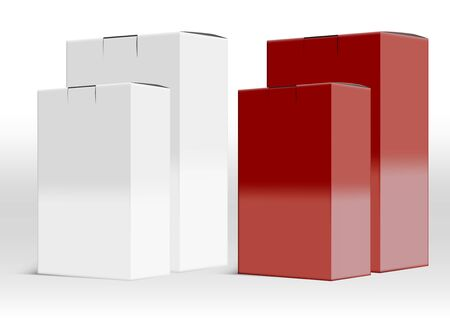 White And Red 3D Blank Package Open Box Set Illustration