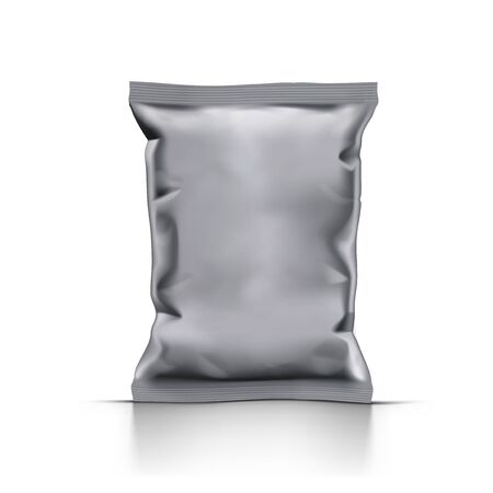 Blank Crumpled Foil Or Paper Food Pouch Sachet Bag Packaging. EPS10 Vector