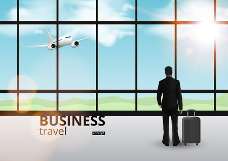 Businessman On Plain In Window. Travel Concept