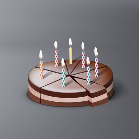 3D Chocolate Birthday Cake With Color Candles
