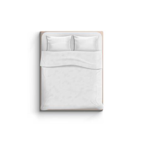 Cama blanca realista con vista superior de almohadas.