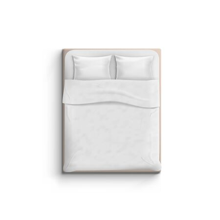 Realistic White Bed With Pillows Top View.