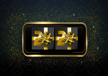 New Year Cretaive Card 2020 With Christmas Bow. EPS10 Vector