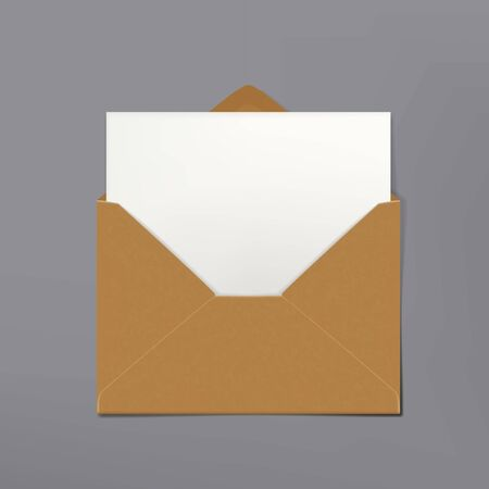 Blank Postcard Craft Paper Envelope With White Sheet. EPS10 Vector