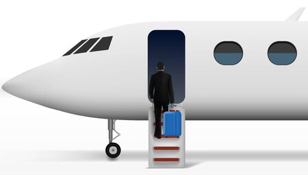 Businessman With Trolley Suitcase Walking In Plane. EPS10 Vector