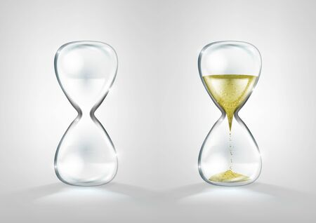 Empty And Full Gold Glitter Hourglass Isolated. EPS10 Vector
