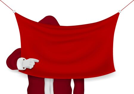 Happy Santa Hand Pointing At Red Blank Banner
