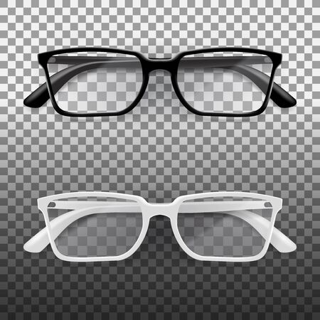 Black And White Office Glasses With Shiny Frame