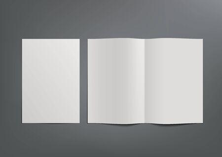 White A4 And A5 Brochure With Shadow On Gray Ilustração