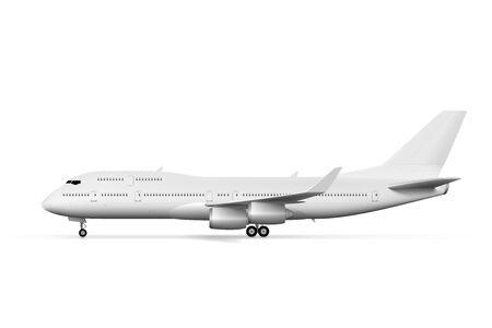Vue latérale d'un grand avion blanc ou d'un avion de ligne vierge. Vecteur EPS10