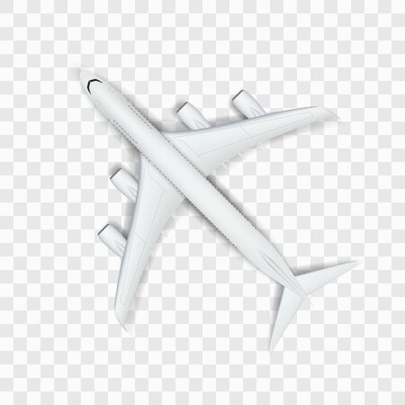 Abstract White Big Airplane On Transparent Back Иллюстрация