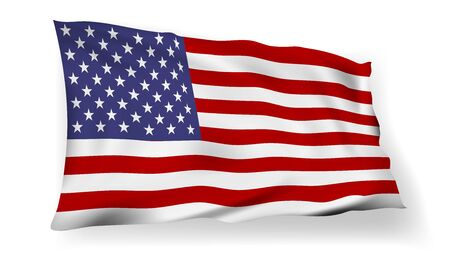 3D USA Flag With Shadow In The Wind
