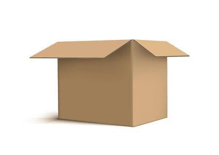 3D Realistic Cardboard Box On White Back Vettoriali