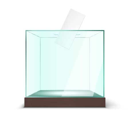Realistic Empty Transparent Ballot Box With Voting Paper In Hole On White Background. EPS10 Vector Stock fotó - 134492823