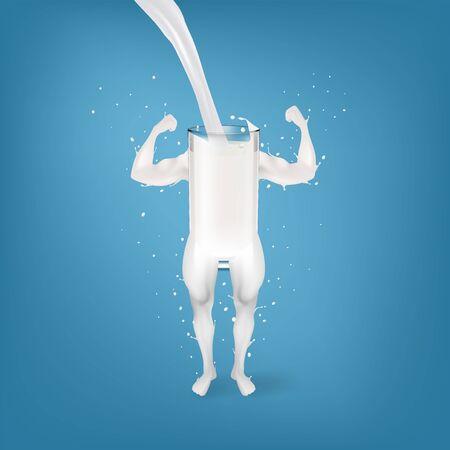 Salpicaduras de leche en forma de brazos y piernas fuertes concepto. Vector EPS10