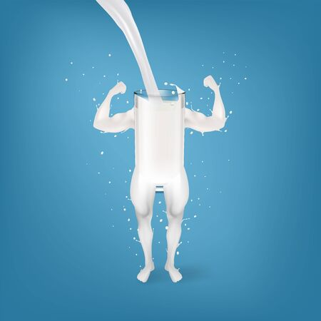 Splash Mleka W Postaci Silnej Koncepcji Ramion I Nóg. Eps10 wektor