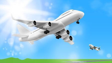3D White Glossy Commercial Jet Airplane Take Off Çizim