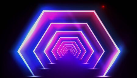 3D Abstract Fluorescent Tunnel Or Neon Teleport