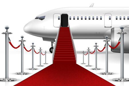 Cérémonie solennelle d'embarquement dans un avion commercial avec tapis rouge. Vecteur EPS10