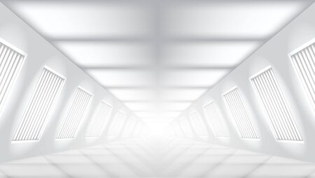 3D Future Modern Concrete Light Corridor Garage