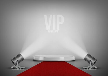 Round Stage Podium With Red Carpet And Spotlights Çizim