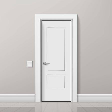 Porta bianca moderna realistica in interni luminosi minimalisti. EPS10 Vector