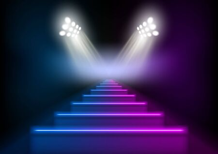 3D Glowing Neon Stairs Illuminated By Spotlights