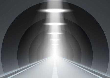 3D Abstract Dark Underground Road Long Tunnel Çizim