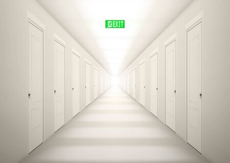 3D Long Light Corridor With Exit Sign