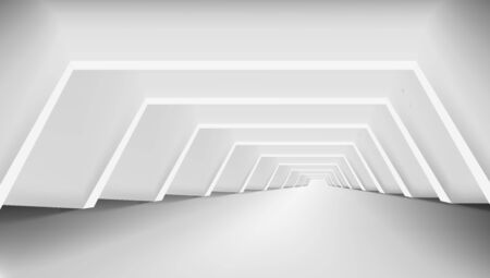 3D Abstract White Clear Light Corridor Interior