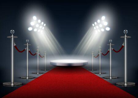 Czerwony dywan na imprezę VIP z okrągłą sceną