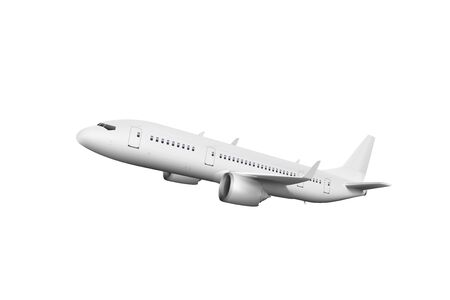 3D White Abstract Airliner Take Off On White