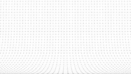 3D Curved Perspective Grid Background On White